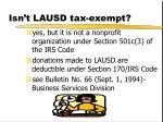 isn t lausd tax exempt