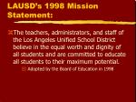 lausd s 1998 mission statement
