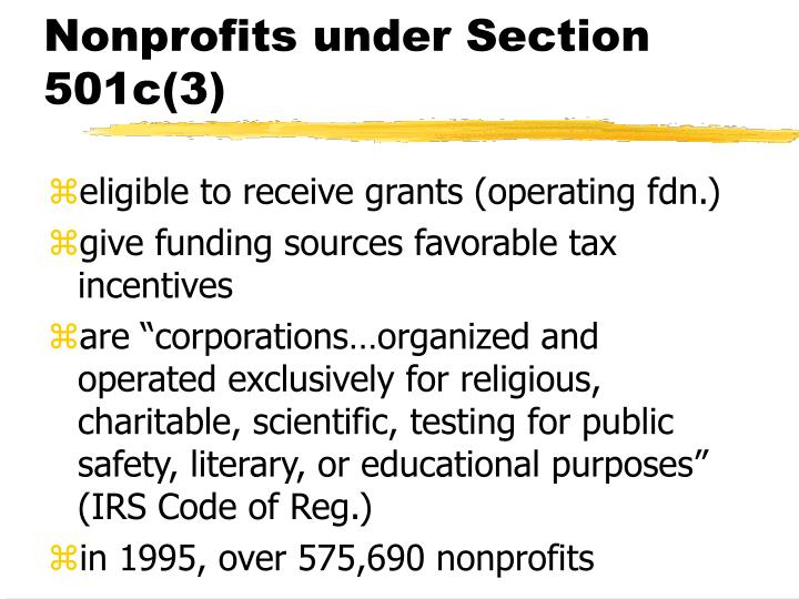 Nonprofits under Section 501c(3)