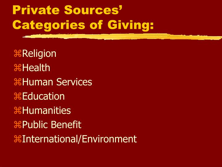 Private Sources'