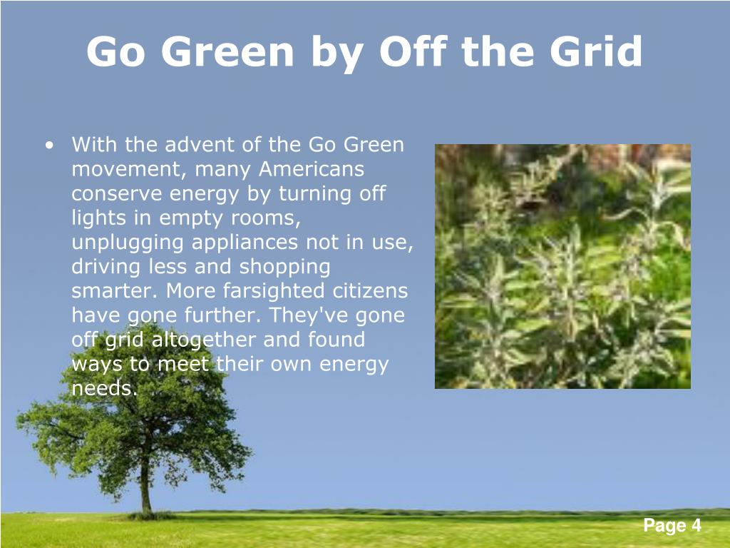 Go Green by Off the Grid