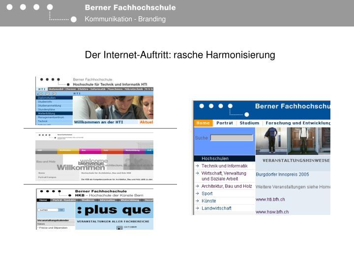 Der Internet-Auftritt: rasche Harmonisierung