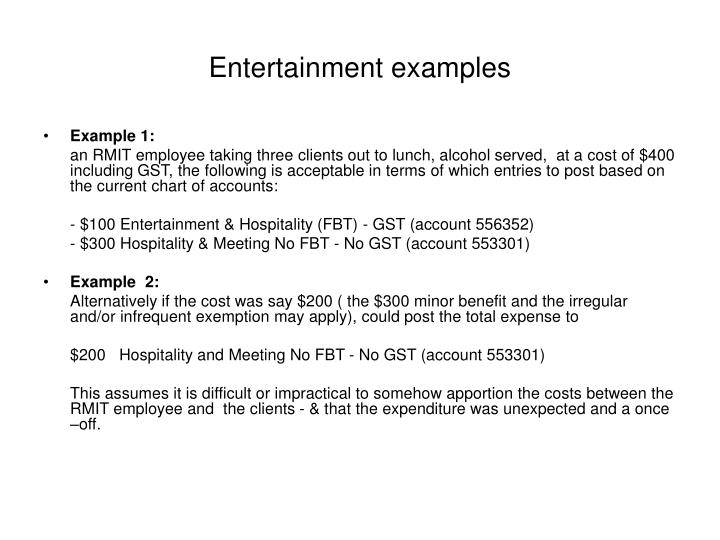Entertainment examples