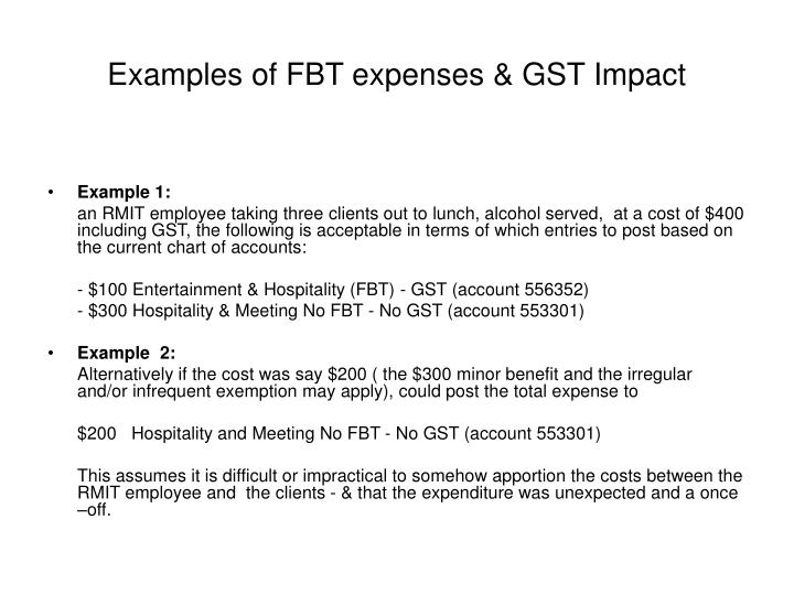 Examples of FBT expenses & GST Impact