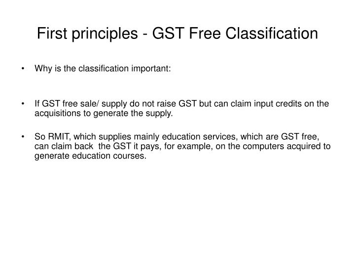 First principles - GST Free Classification