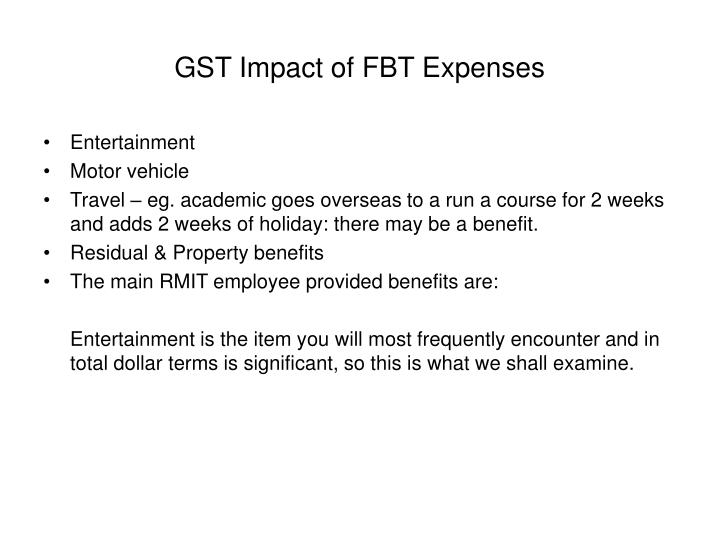 GST Impact of FBT Expenses