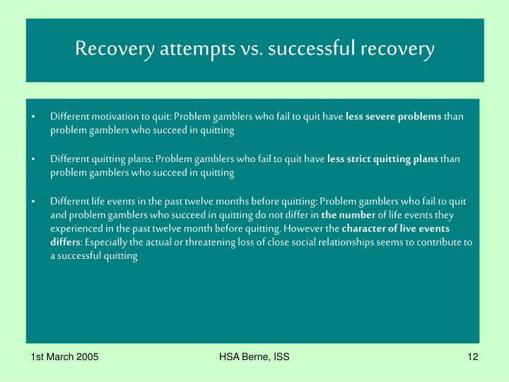 Recovery attempts vs. successful recovery