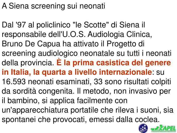 A Siena screening sui neonati