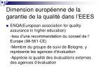 dimension europ enne de la garantie de la qualit dans l eees1