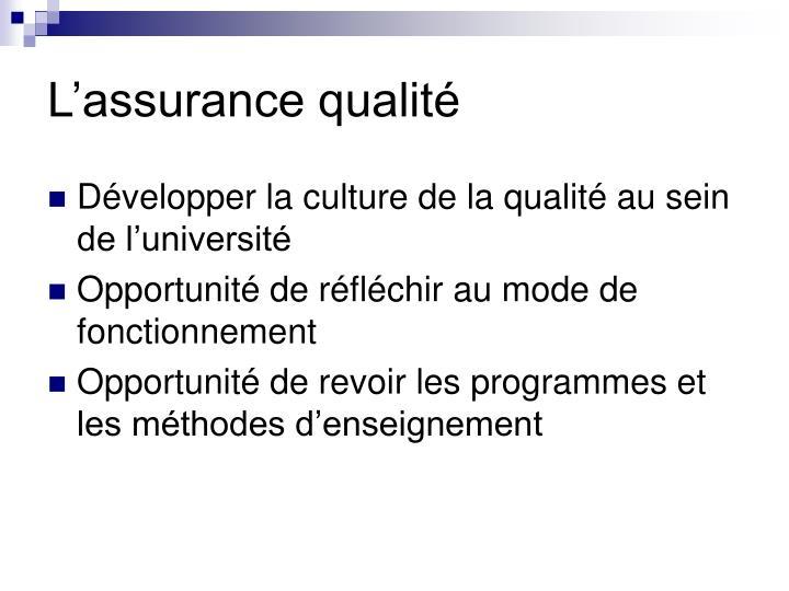 L'assurance qualité