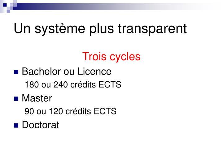 Un système plus transparent