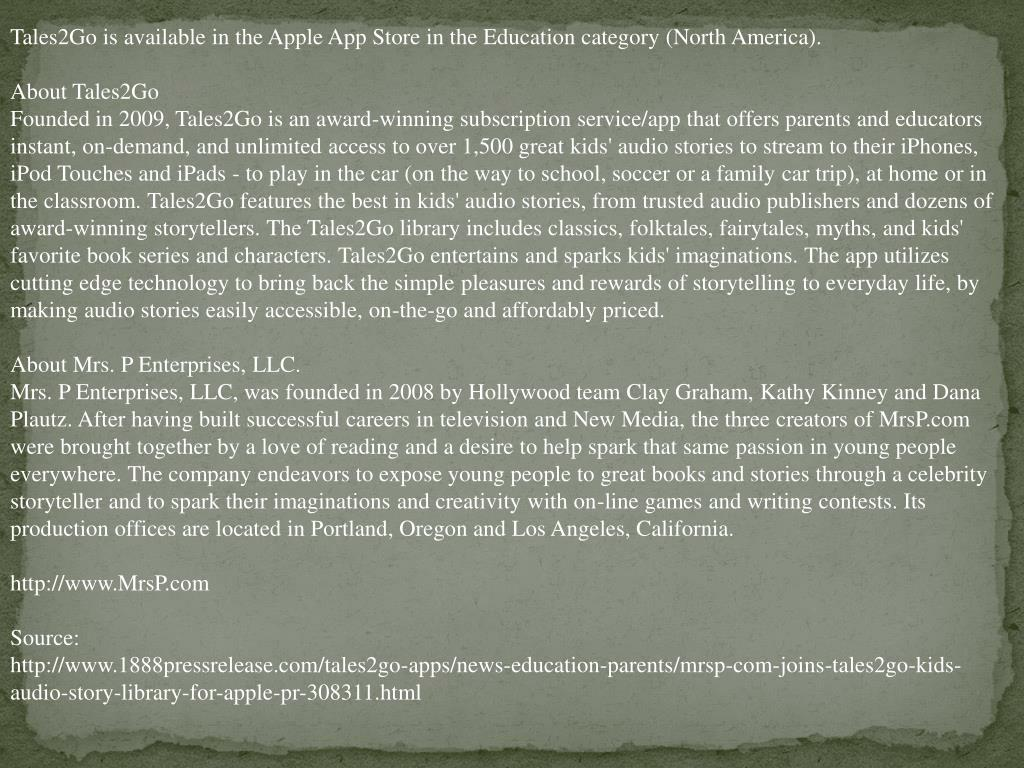 Tales2Go is available in the Apple App Store in the Education category (North America).