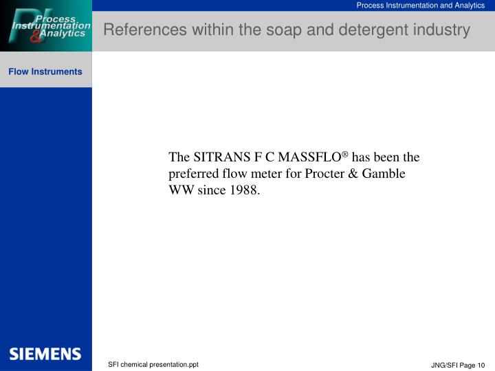 References within the soap and detergent industry