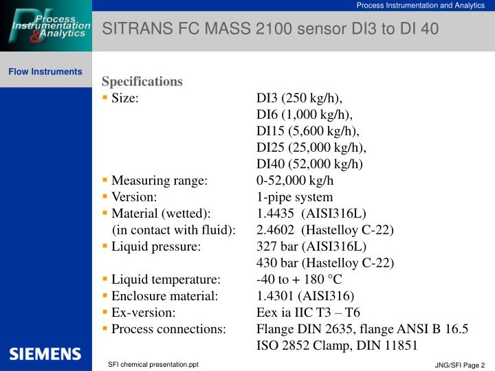 SITRANS FC MASS 2100 sensor DI3 to DI 40