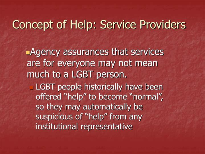 Concept of Help: Service Providers
