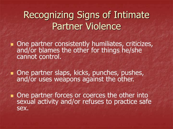 Recognizing Signs of Intimate Partner Violence
