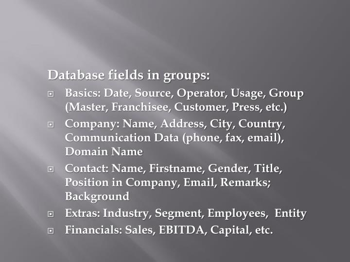 Database fields in groups: