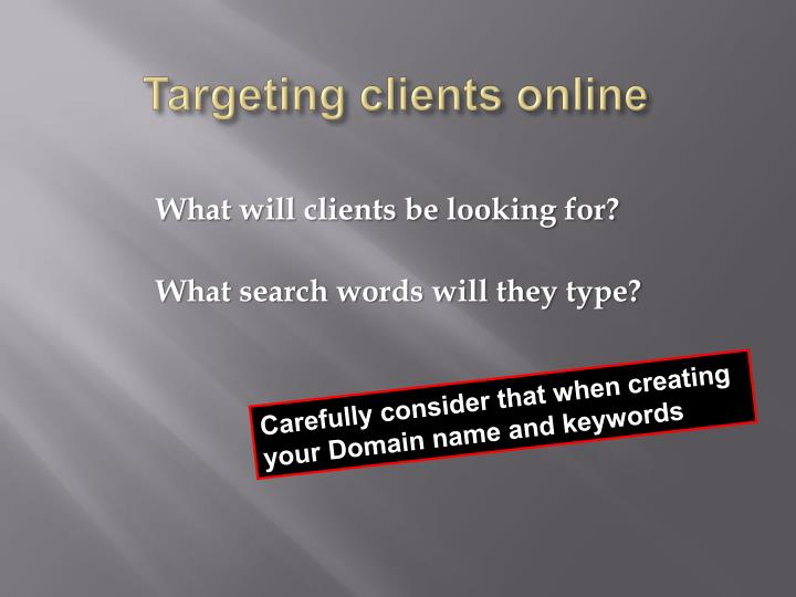 Targeting clients online