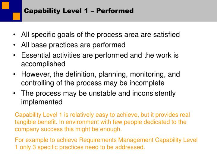 Capability Level 1 – Performed