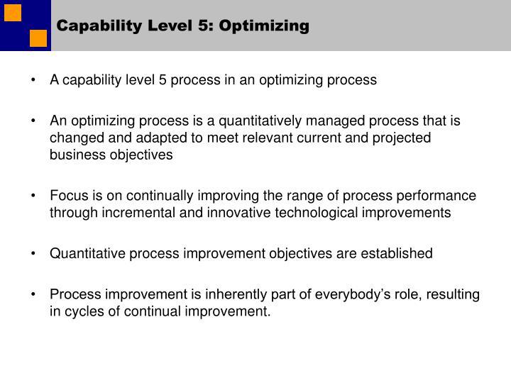 Capability Level 5: Optimizing