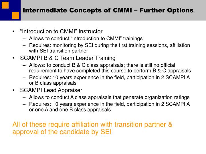 Intermediate Concepts of CMMI – Further Options