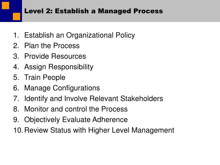 Level 2: Establish a Managed Process