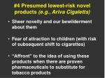 4 presumed lowest risk novel products e g ariva cigaletts