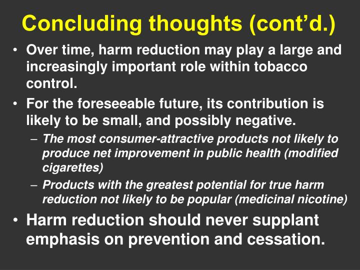 Concluding thoughts (cont'd.)