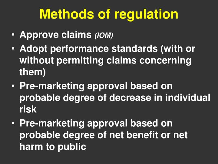 Methods of regulation