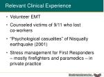 relevant clinical experience