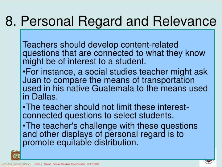 8. Personal Regard and Relevance
