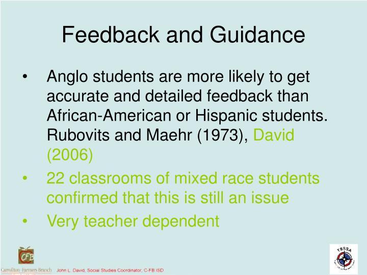 Feedback and Guidance