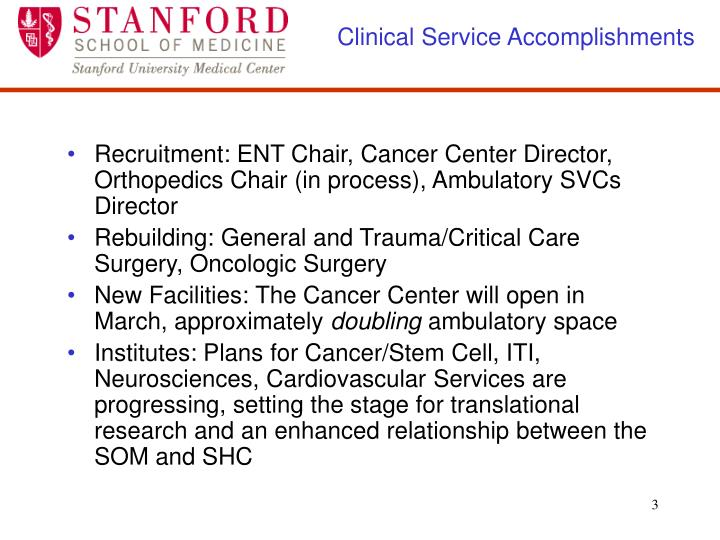 Clinical Service Accomplishments