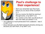 paul s challenge to their experience