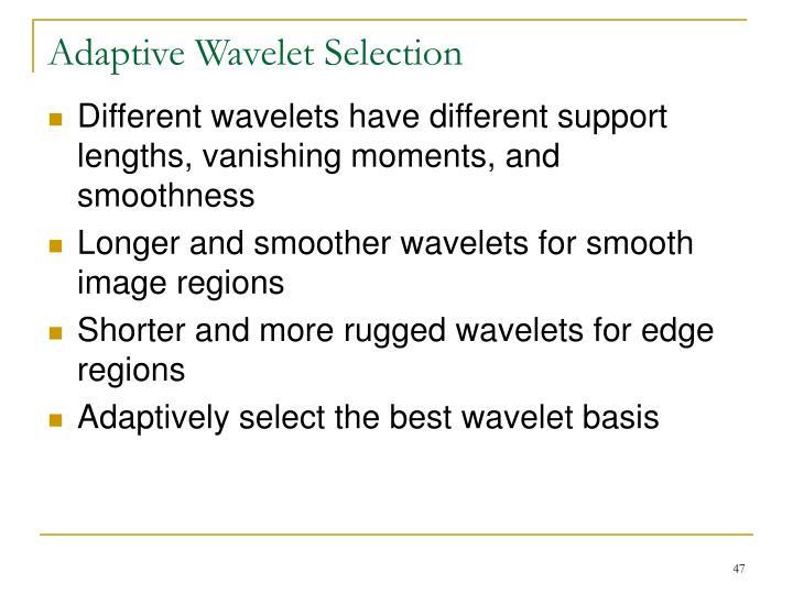 Adaptive Wavelet Selection