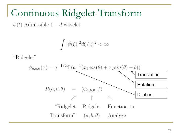 Continuous Ridgelet Transform