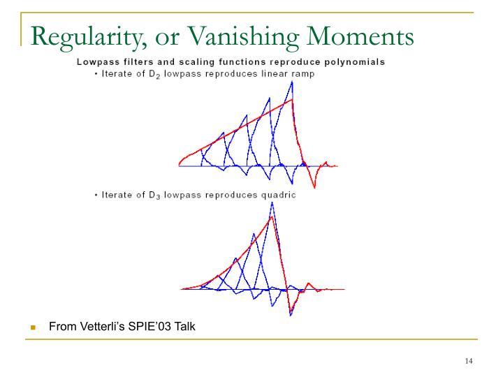 Regularity, or Vanishing Moments