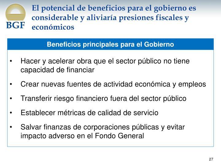 El potencial de beneficios para el gobierno es considerable y aliviaría presiones fiscales y económicos