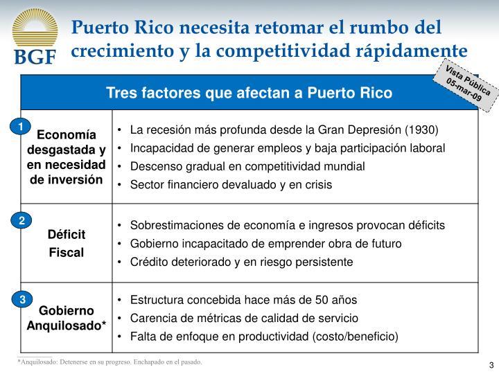 Puerto Rico necesita retomar el rumbo del crecimiento y la competitividad rápidamente
