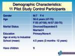 demographic characteristics 11 pilot study control participants