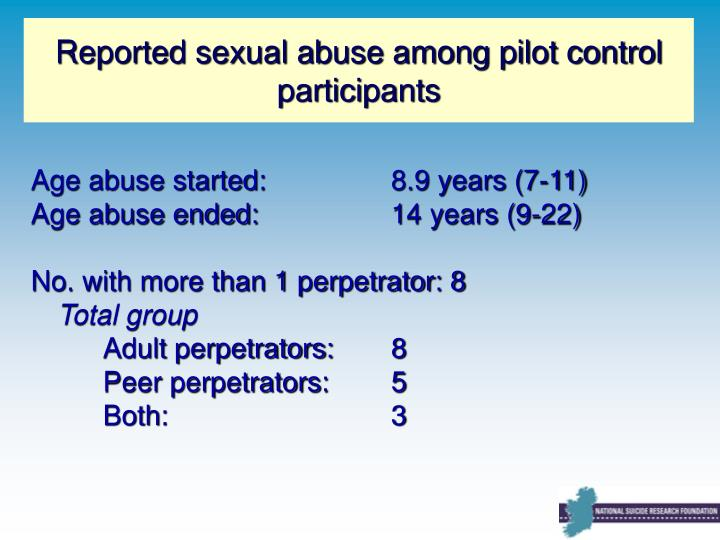 Reported sexual abuse among pilot control participants