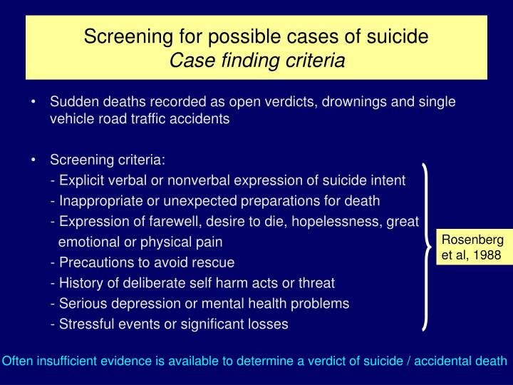 Screening for possible cases of suicide