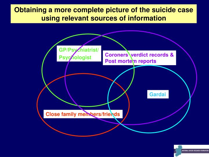 Obtaining a more complete picture of the suicide case using relevant sources of information