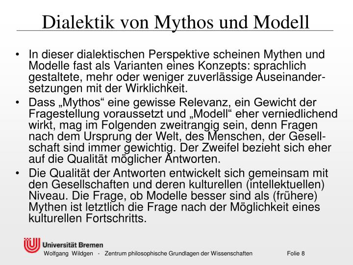 Dialektik von Mythos und Modell