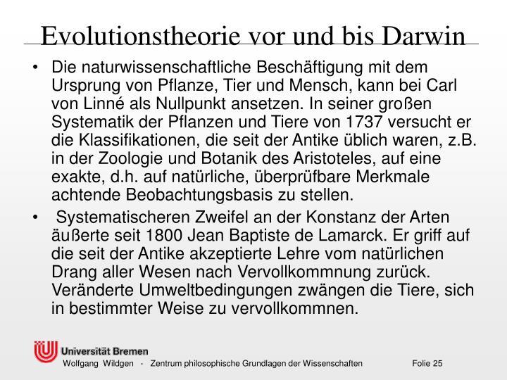 Evolutionstheorie vor und bis Darwin