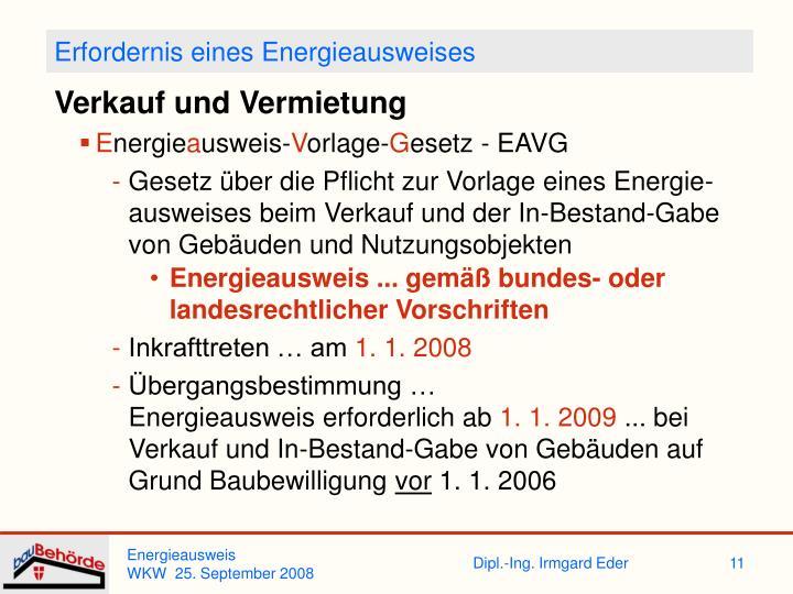 Erfordernis eines Energieausweises