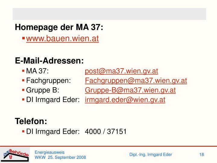 Homepage der MA 37: