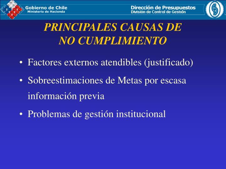 Factores externos atendibles (justificado)