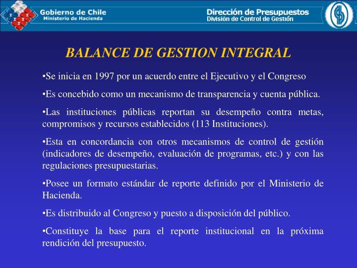 BALANCE DE GESTION INTEGRAL
