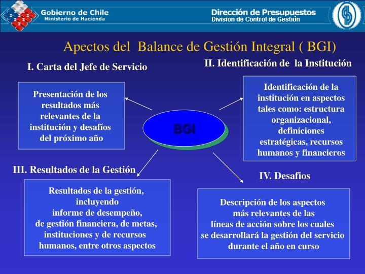 Apectos del  Balance de Gestión Integral ( BGI)